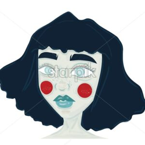Cartoon style girl with blue hair and red circles on cheeks. Alien abstract style. Vector - Starpik Stock
