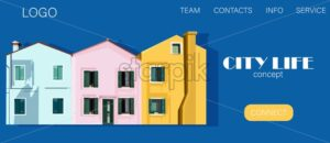 City life concept site template with colorful pink and yellow buildings on blue background. Vector. Place for text - Starpik Stock