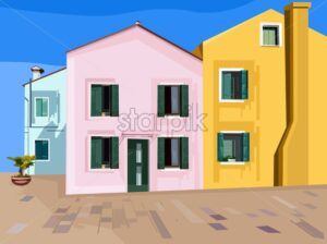Colorful pink, blue and yellow buildings. Minimalistic style. Facade vector - Starpik Stock