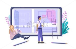 Construction Mobile app site template with smart phone full of icons. Future of labor. Woman browsing the applications online - Starpik Stock
