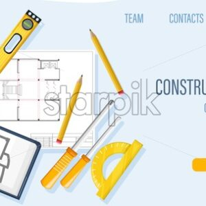 Construction site template with architect tools and blueprint. Ruler, screwdriver, spirit level, calculator, pencil and wrench. Yellow warning tape. Vector - Starpik Stock