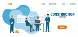Construction site template with office workers and architects preparing a plan. Fluid style design. Vector - Starpik Stock