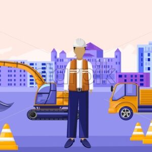 Construction worker sitting in front of vehicles. Yellow cones and warning tapes. Stop sign. City on background. Vector - Starpik Stock