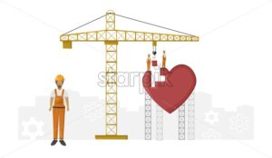 Construction workers building with blocks a heart. Yellow crane. Love day composition - Starpik Stock