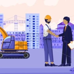Contractor shaking hand with a construction worker. Crane and buildings on background. Vector - Starpik Stock