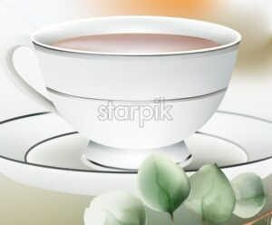 Cup with tea on a white table. Green leaves on foreground. Dishes composition Vector - Starpik Stock