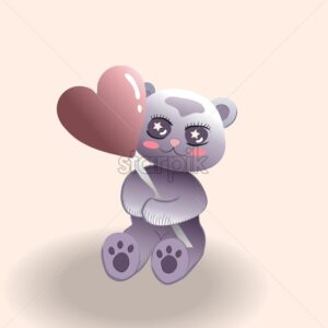 Cute little bear with red cheeks holding a balloon in heart shape. Valentines day vector - Starpik Stock
