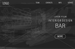 Dark site template with outline sketch of a modern sports bar. Vector - Starpik Stock