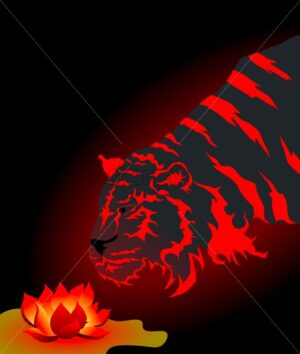Dark tiger with vibrant red stripes approaching a glowing lotus flower. Abstract reborn idea. Vector illustration - Starpik Stock
