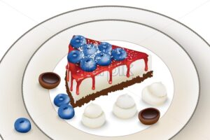 Delicious cake with blueberry and red syrup. Meringue and toffee candy decoration. Vector - Starpik Stock