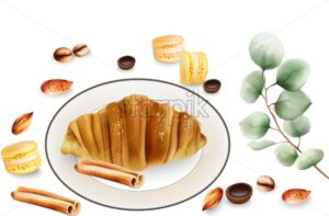 Delicious croissant with cinnamon sticks, macaron sweets and toffee candy on table. Various decorations. Vector - Starpik Stock