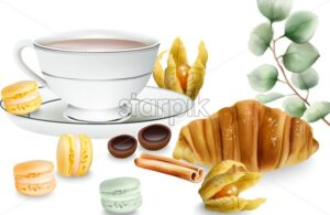 Delicious croissant with cinnamon sticks, macaron sweets, cape gooseberry, tea and toffee candy on table. Various decorations. Vector - Starpik Stock