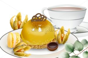 Delicious pudding cake with cape gooseberry, macaron sweets, tea and toffee candy on table. Vector - Starpik Stock