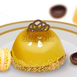 Delicious pudding cake with macaron sweets and toffee candy on table. Vector - Starpik Stock