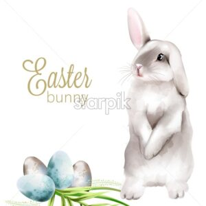 Easter watercolor bunny with colorful eggs and green leaves. Holiday vector - Starpik Stock