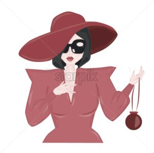 Elegant woman in pink dress and hat wearing sunglasses. Cartoon style. Vector - Starpik Stock