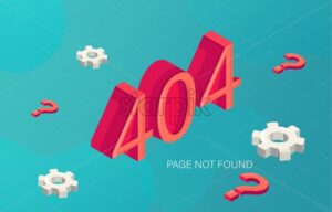 Error 404 page not found in fluid style with gears and red question marks. Vector - Starpik Stock
