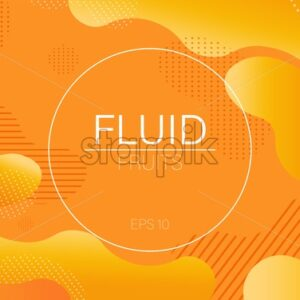 Fluid dynamic bubble design circle with colorful orange waves and dots on background. Place for text. Futuristic abstract liquid style vector - Starpik Stock