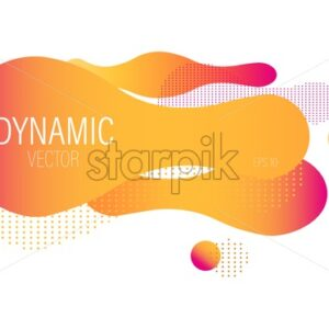 Fluid dynamic bubble design with colorful orange waves and dots. Futuristic abstract liquid style vector - Starpik Stock
