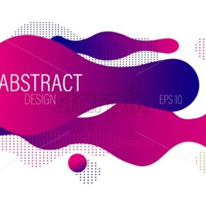 Fluid dynamic bubble design with colorful pink waves and dots. Futuristic abstract vector - Starpik Stock