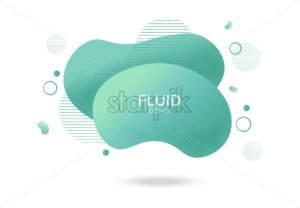 Fluid lines design with colorful green waves and curly lines. Futuristic abstract liquid style vector - Starpik Stock