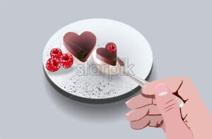 Girl eating heart shaped cake with raspberry fruit decorations. Love day idea. Vector - Starpik Stock
