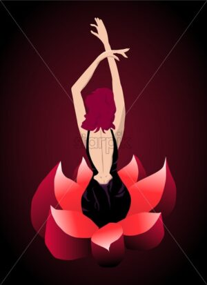 Glamorous woman rising up from a red flower. Love and reborn idea. Vector - Starpik Stock