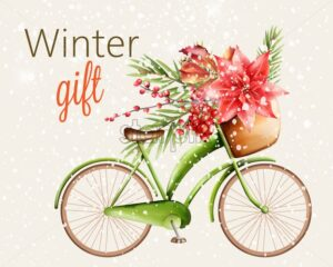 Green classic bike with basket full of flowers and green pine tree leaves, berries. Winter gift with snowing theme. Vector - Starpik Stock