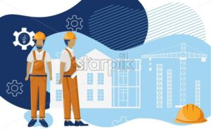 Group of architects visualising a blueprint that they draw. Wearing yellow clothes and helmet. Gears and fluid style design on background. Vector - Starpik Stock