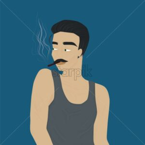 Handsome and stylish mature man smoking a cigarette. Wearing gray tank top. Vector - Starpik Stock
