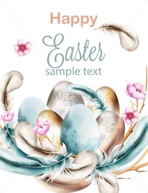 Happy Easter watercolor composition with blue colored feathers and eggs on wreath. Pink blossom flowers decoration. Vector - Starpik Stock