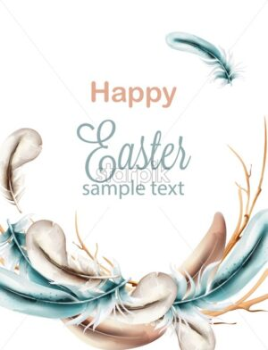 Happy Easter watercolor composition with blue colored feathers on wreath. Vector - Starpik Stock
