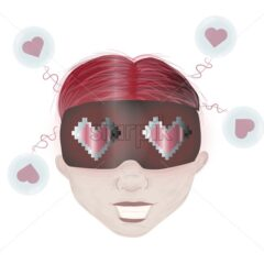 Happy girl with pink hair and virtual reality helmet on head. 8 bit hearts on goggles. Valentines day vector - Starpik Stock