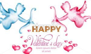 Happy valentines day banner with watercolor cupid. Place for text - Starpik Stock