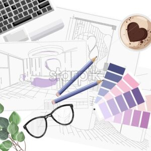 Interior designer desk with pantone color formula guide, keyboard, sketch and coffee with heart shape. Glasses and pencil. Overhead. Vector - Starpik Stock