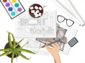 Interior designer desk with pantone color formula guide, keyboard, sketch flowers, watercolor paint and coffee with marshmallow. Glasses and pencil. Overhead. Vector - Starpik Stock