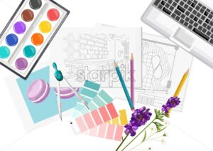 Interior designer desk with pantone color formula guide, keyboard, sketch, watercolor paint and compass. Glasses and pencil. Overhead. Vector - Starpik Stock
