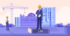 Landlord reading the law while sitting on podium. Workers, buildings and cranes on background. Construction vector - Starpik Stock