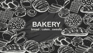 Line art set of bakery products including various types of bread and cakes. Black and white color. Chalk style. Vector - Starpik Stock
