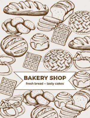 Line art set of bakery products including various types of bread and cakes. Vector - Starpik Stock