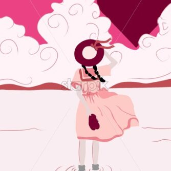 Lonely girl dreaming about love in the air. Ring instead of head. Hearts and rose clouds on background - Starpik Stock