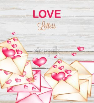 Love letters with hearts flying on wooden background. Valentines day vector - Starpik Stock