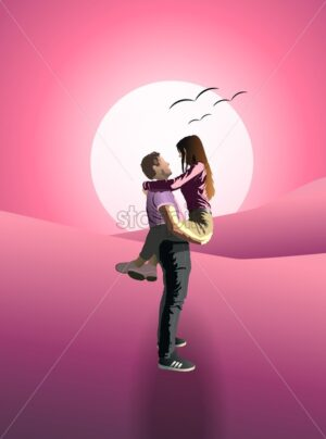 Man holding his girlfriend in arms at pink sunset. Birds flying in the sky. Valentines day idea - Starpik Stock