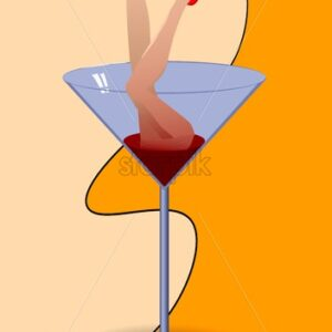 Martini cocktail glass with Woman beauty red shoes. Fluid shapes on background. Vector - Starpik Stock
