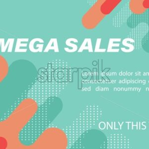 Mega sales banner with fluid dynamic bubble design, flat style waves and dots. Futuristic abstract vector - Starpik Stock