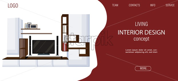 Modern living room site template with big tv and shelves for books and photo frames. Colored sketch. Vector - Starpik Stock