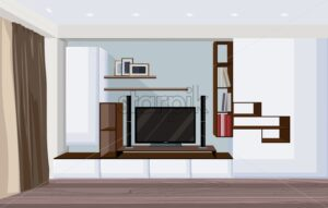 Modern living room with big tv and shelves for books and photo frames. Colored sketch. Vector - Starpik Stock