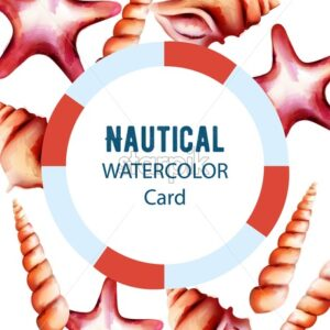 Nautical watercolor card with starfish and various size shell. Place for text. Vector - Starpik Stock