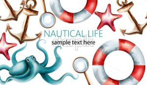Nautical watercolor card with starfish, shell, octopus, anchor, magnifier and life preserver. Place for text. Vector - Starpik Stock