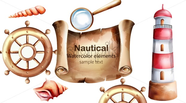 Nautical watercolor elements with treasure map, lighthouse, boat wheel, shell and magnifier. Place for text. Vector - Starpik Stock